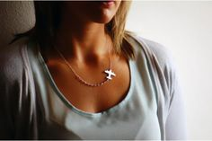 Sterling Silver Airplane Necklace  by OffbeatMelody on hellopretty.co.za