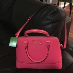 """Gorgeous Kate Spade small """"Rachelle"""". NWT! New with tag attached, Kate Spade small Rachelle, hotrose color!!   Gorgeous, bright coral!   Long, adjustable, removable shoulder strap, and hand straps.  Gold hardware.  Dimensions are: 12""""x9""""x5"""". Pictures do not do justice to this bag!  From clean, smoke-free home kate spade Bags Shoulder Bags"""