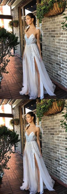 sexy white tulle long prom/evening dress #promdresses #promdress #eveningdress #eveningdresses #prom2018