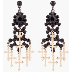 TOM BINNS Gold Plated Crucifix Earrings ($340) found on Polyvore