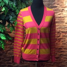 ANN TAYLOR LOFT LIGHTWEIGHT CARDIGAN Pink and golden yellow striped cardigan in gently used condition LOFT Sweaters Cardigans