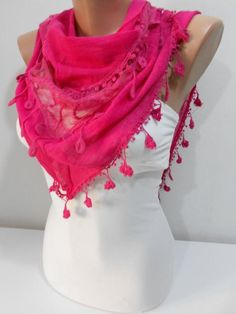 NEW Spring Summer Scarf Hot Pink Scarf Shawl Tulle Scarf Pink Wedding Scarf Bridesmaids Gifts Women Fashion Accessories Mothers Day Gifts for Her For Mom The sc Ways To Wear A Scarf, How To Wear Scarves, Pink Scarves, Summer Scarves, Summer Accessories, Fashion Accessories, Scarf Sale, Lace Scarf