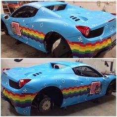 He's Only Gone And Done It: #Deadmau5 Wraps His Ferrari In Nyan Cat Wrap! Is this viral cat meme the best wrap ever? Or worst decision ever? Hit the pic to find out more #NyanCat #WTF