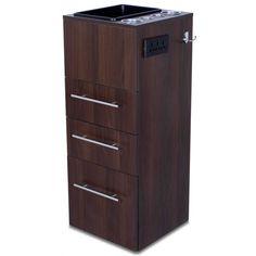 """Pomona"" Dark Wood Beauty Salon Styling Station Cabinet"
