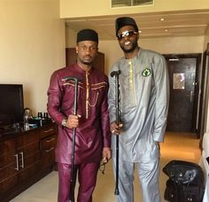 Nigerian Musician, Nigerian groom, musician Peter Okoye (P-Square) stuns in his traditional wedding outfit (he's the one on the left). Nigerian Traditional Attire, Mens Traditional Wear, Traditional Wedding, African Clothing For Men, African Men Fashion, Ethnic Fashion, African Attire, African Wear, African Dress