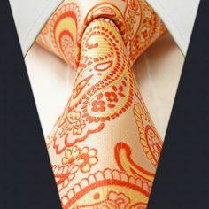 Orange Paisley Necktie