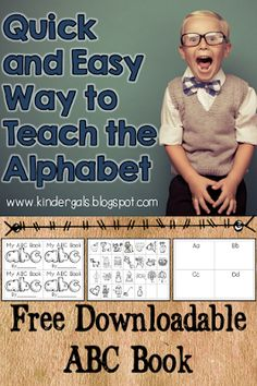 FREE ABC Book with information and ideas for teaching the alphabet. Perfect for teaching preschool and kindergarten or as an intervention for older students who are struggling to learn the alphabet.