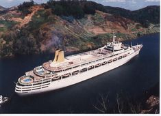 SS Canberra Panama Canal World Cruise 1988 we were aboard, and we went aground - though that's not what they said! P&o Cruises, World Cruise, Merchant Navy, Paddle Boat, Panama Canal, Wooden Ship, Floating In Water, Beautiful Ocean, Boats
