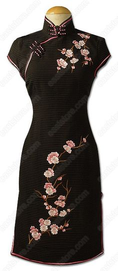 Xi Plum Blossom Embroidered Silk Cheongsam : EastStore.com