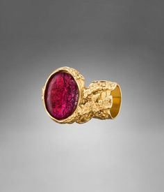 YSL Arty Oval Ring with Pink Stone with LOVE engraved on the back - Rings - Jewelry - Women - Yves Saint Laurent - YSL - StyleSays