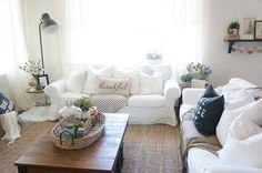 Eclectic Home Tour - Perfecting the Homefront White Couch Living Room, Rugs In Living Room, Home And Living, Shabby Chic Living Room, Buying A New Home, Up House, Affordable Home Decor, White Furniture, Decoration