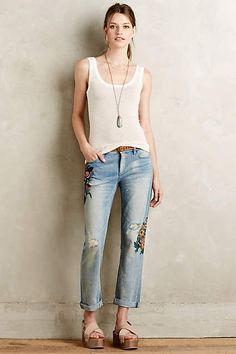Pilcro Hyphen Rosegarden Jeans - anthropologie.com. $268. Hand-painted jeans.