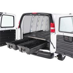 The DECKED® Cargo Van Storage System is a unique system that makes it easy to work out of your cargo van. Cargo Van Conversion, Sprinter Van Conversion, Camper Conversion, Diy Camper, Camper Van, Camper Ideas, Camper Life, Nissan Vans, Van Shelving
