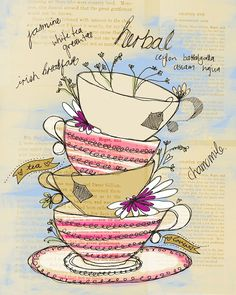 8x10 Giclee Print - Original Drawing of Tea Cups and Flowers by Sail and Swan - by sailandswan on madeit