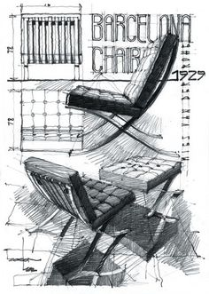 Mies van der Rohe's Barcelona chair // Bauhaus // I usually skip over anything to do with this chair as it is so over used in media and interior design. But this is a great drawing so I pin. Ppt Design, Sketch Design, Icon Design, Architecture Drawings, Architecture Design, Bauhaus, Chair Drawing, Drawing Furniture, Furniture Sketches