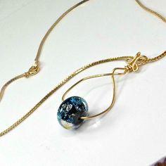Handmade pendant wirework goldtone wire dichroic lampwork bead chain 17 1/2 inch #Pat2 #Pendant