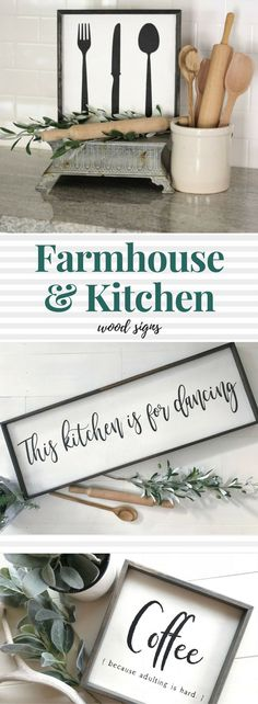 Black + White Farmhouse Signs are gorgeous!!! I love the classic colors, helps with achieving the vintage - cottage - farmhouse chic look I'm into! These are perfect for a #farmhousekitchen :) This kitchen is for DANCING is totally my motto! And coffee is