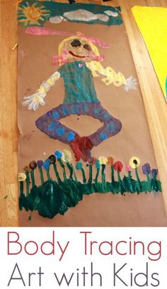 Body Tracing Art Activity for Kids - A great way for kids to make self portraits, work BIG, and explore how they see themselves!