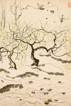 Chinese Painting Hanging Scroll 'Tree, Pond and Duck' 吳冠中 Wu Guanzhong B015