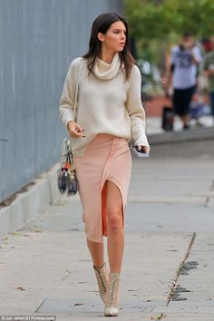 Earlier on...: Before heading to Barney's, Kendall had stepped out in a more ladylike, chi...