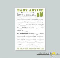 Baby Shower Advice Card - Mad Libs, via Etsy.