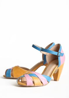 """Nikki Heel By Chelsea Crew 64.99 at shopruche.com. Pink, blue, and cognac colors intertwine in these classic faux leather heels. The shoes are finished with an adjustable ankle strap and a classic peep toe.  Slightly padded footbed, 3"""" heel"""