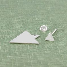 Geometric Triangle Two Way Sterling Silver Ear Jackets