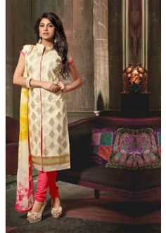 couleur beige churidar Chanderi costume, - 55,00 €, #Salwarkameezfemme #Tenuepakistanaise #Tenuebollywood #Shopkund