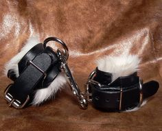 Rabbit-Fur-Lined Leather Cuffs Bondage by LeatherandFire on Etsy
