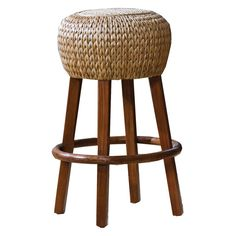 Hospitality Rattan Seagrass Indoor Stationary Rattan & Wicker 30 in. Bar Stool - Honey