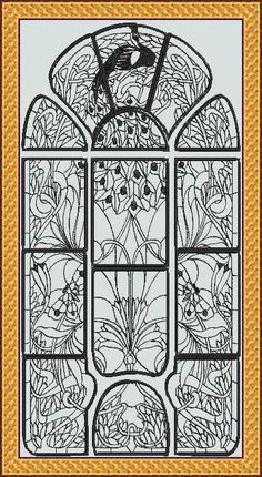 Art Nouveau Blackwork PeacockThis design is reminiscent of an ornate, old fashioned wrought iron gate. The small size will stitch out 16 by 9.8 inches, the medium size is 20 by 12.5 inches and the large 24 by 15 inches. This set would make a great picture or try it on something like white curtains for a really unique look.