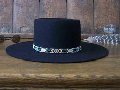 Native American Beaded Cherokee Green Chevron Hat Band