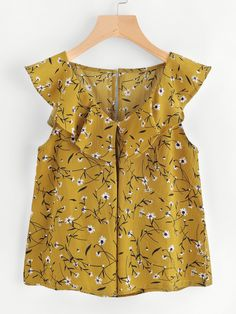 SheIn offers Calico Print Frill Trim Blouse & more to fit your fashionable needs. Blouse Styles, Blouse Designs, Cute Summer Outfits, Kids Outfits, Kids Dress Wear, Chic Outfits, Fashion Outfits, Blouse Online, Madame