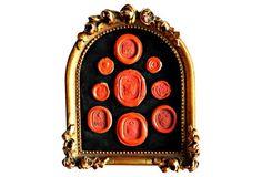 Framed Red Wax Intaglio Seals