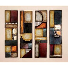Geometric Multicolor Metal Abstract Wall Art Decor Plaques (Set of 4) | Overstock™ Shopping - Top Rated Sculptures
