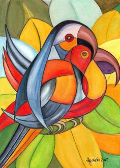 Hitesh Durgani — by Enoedes Souza Arte Pop, Abstract Paintings, Abstract Art, Cubism Art, Art And Illustration, Art Illustrations, Bird Art, African Art, Painting & Drawing
