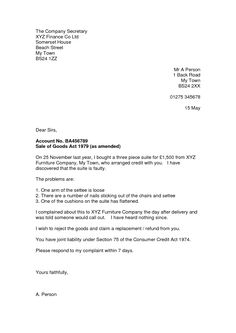 Consumer Complaint Letter - following are suggestions on how to write