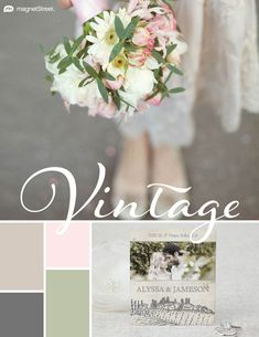 Wedding Color Trends! A perfect pairing for romantic spring weddings and chic sophistication: Sugar | Charcoal | Cream Rose | Sage - See more combos at MagnetStreet Weddings