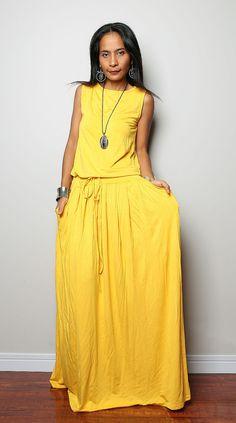 PLUS SIZE Dress / Yellow Maxi Dress   Sleeveless dress  by Nuichan, $75.00