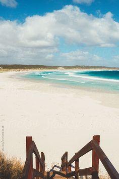 stairs down to an empty beach. Esperance, Australia. by Gillian Vann for Stocksy United