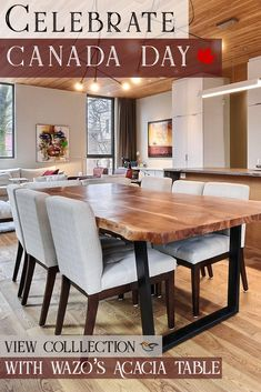 Celebrate Canada Day with Our Best Selling product - Acacia Table. Dinning Table, Dining Bench, Dining Chairs, Wood Tables, Sofa Sale, Acacia Wood, Furniture Sale, Leather Sofa, Bar Stools