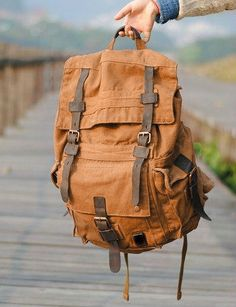 Large Canvas Leather #Hiking Outdoor #Travel Backpack #canvasbackpack