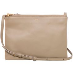 Celine Large 'Trio' Beige Leather Crossbody Bag ($1,200) ❤ liked on Polyvore featuring bags, handbags, shoulder bags, purses, accessories, bolsas, leather pouch, purse pouch, leather handbags and celine crossbody