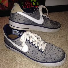 Nike Shoes - Nike Air Force 1's grey with blue anchors!