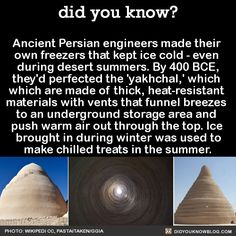 Ancient Persian engineers made their own freezers that kept ice cold - even during desert summers. By 400 BCE, they'd perfected the 'yakhchal,' which which are made of thick, heat-resistant materials. Science Trivia, Mad Science, Weird Science, Science Facts, Wierd Facts, Unusual Facts, Wtf Fun Facts, Strange History, History Facts