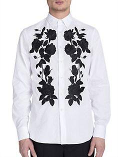 1a42bea269932 Alexander McQueen - Rose Applique Woven Button-Down Shirt Button Down Shirt,  Mens Button
