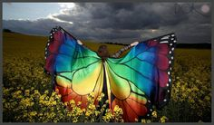 Hand painted 100% silk Isis wings made to order. Rainbow Monarch butterfly wings.