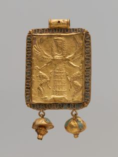Gold and enamel pendant with Mistress of Animals Period:Archaic century B. Culture:Greek Medium:Gold x x in. x x cm)Greek gold pendant with repousse decoration showing a Potnia Theron; Ancient Jewelry, Antique Jewelry, Vintage Jewelry, Viking Jewelry, Handmade Jewelry, Potnia Theron, Greek Jewelry, Gold Jewelry, Archaeological Finds