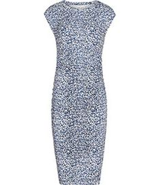Womens Blue Abstract-print Dress - Reiss Jo