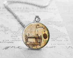 Medium Necklaces – Sewing Machine Necklace, Steampunk Pendant, N796 – a unique product by petiteVanilla on DaWanda